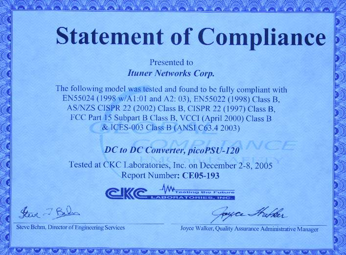 compliance statement template - picopsu 120 power kit